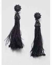 Oscar de la Renta | Black Feather and Bead Tassel Earrings | Lyst