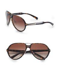 Prada | Brown Acetate Aviator Sunglasses for Men | Lyst