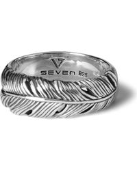 Seven London | Metallic Life Feather Ring for Men | Lyst