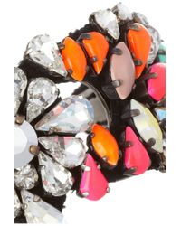 Shourouk - Pink Silver Plated Swarovski Crystal Cuff - Lyst