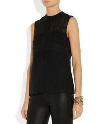 Temperley London - Black Lace detailed Silk chiffon Top - Lyst