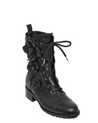 Valentino - Black 30mm Calfskin Embroidered Combat Boots - Lyst