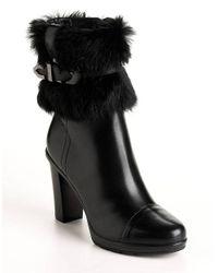 Aquatalia | Black Colette Suede, Raccoon Fur & Shearling Wedge Boots | Lyst