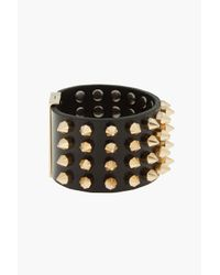 DSquared² - Black Leather and Gold Spiked Killer Asta Cuff for Men - Lyst