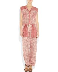 Étoile Isabel Marant | Red Heko Printed Cotton-voile Jumpsuit | Lyst