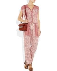 Étoile Isabel Marant - Red Heko Printed Cotton-voile Jumpsuit - Lyst