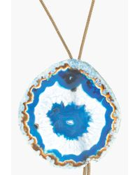 Lanvin | Blue Snake Chain and Agate Bolo Tie for Men | Lyst