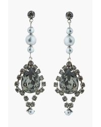Tom Binns | Black Diamond Teardrop Crystal and Light Grey Pearl Regal Rocker Earrings | Lyst