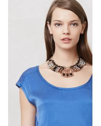 Anthropologie - Brown Batik Beaded Collar - Lyst