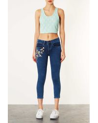 TOPSHOP - Blue Moto Vintage Embroidered Jeans - Lyst