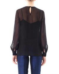Valentino - Black Cape Overlay Virgin Wool-silk Top - Lyst
