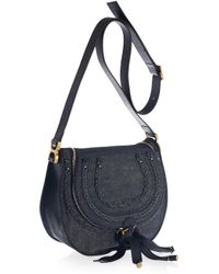 Chloé | Blue Marcie Denim and Leather Shoulder Bag | Lyst