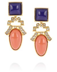 Kenneth Jay Lane - Metallic Gold Plated Crystal and Resin Clip Earrings - Lyst