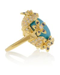 Kenneth Jay Lane - Metallic Gold Plated Crystal and Cabochon Ring - Lyst