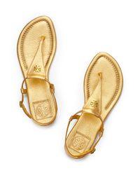 Tory Burch - Yellow Britton Metallic Thong Sandal - Lyst