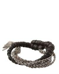 Emanuele Bicocchi - Metallic Woven Leather Sterling Silver Bracelet for Men - Lyst