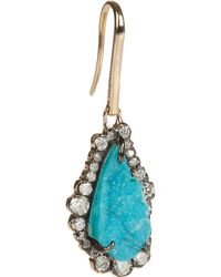 Kimberly Mcdonald - Blue 18karat Rose Gold Diamond and Chrysocolla Druze Earrings - Lyst