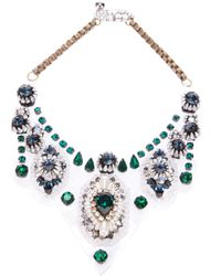 Shourouk - Green Crystal Necklace - Lyst