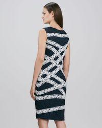 Tadashi Shoji - Blue Ribbonbanded Lace Sheath Dress - Lyst