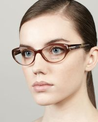 Tom Ford - Brown Pearly Small Cateye Fashion Glasses - Lyst