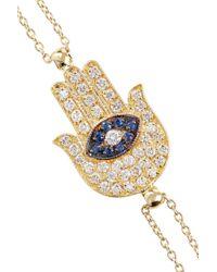 Vanessa Kandiyoti - Metallic 18karat Gold Diamond and Sapphire Hamsa Bracelet - Lyst