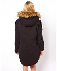 ASOS   Black Asos Fur Hooded Detachable Lined Parka   Lyst