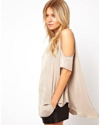 ASOS | Natural Tunic with Cold Shoulder | Lyst