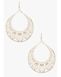 Bebe - Metallic Art Deco Drop Hoop Earring - Lyst