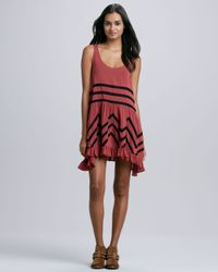 Free People | Black Voile Mixstripe Trapeze Dress | Lyst