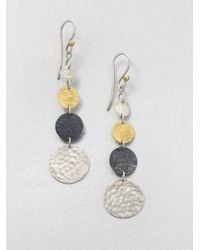 Gurhan | Metallic Lush 24k Yellow Gold & Sterling Silver Graduated Flake Drop Earrings | Lyst