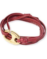 Miansai - Red Brummel Hook Leather Bracelet for Men - Lyst