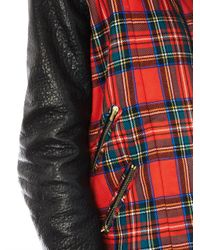 Preen By Thornton Bregazzi | Red Bo Leather and Tartan Biker Jacket for Men | Lyst
