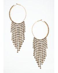 Bebe - Metallic Fringe Crystal Hoop Earring - Lyst
