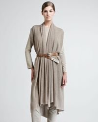 Donna Karan - Gray Long Ribbed Cashmere Vest - Lyst