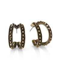 Giles & Brother - Black Studded Split Hoop Earrings1 - Lyst