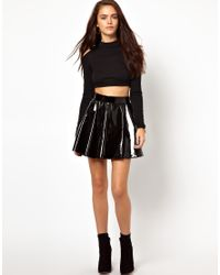 Glamorous - Brown Roll Neck Crop Top with Cold Shoulder - Lyst