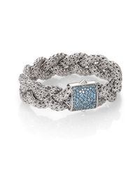 John Hardy | Swiss Blue Topaz and Sterling Silver Braid Bracelet | Lyst