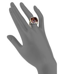 John Hardy - Red Cognac Quartz Sterling Silver and 18k Yellow Gold Ring - Lyst