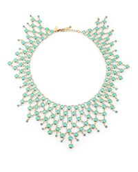 kate spade new york | Green Faceted Stone Bib Necklace | Lyst