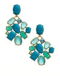 kate spade new york - Blue Crystal Fiesta Cluster Clip-on Earrings - Lyst