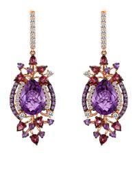 Le Vian - Purple Amethyst And 14k Strawberry Gold Drop Earrings - Lyst