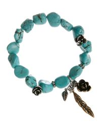 Lucky Brand | Blue Silver Tone Flower Turquoise Bracelet | Lyst