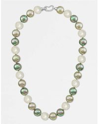 Majorica | White Pearl Necklace, Sterling Silver Multicolor Organic Man Made Pearls | Lyst