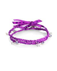 Marc By Marc Jacobs | Purple Braided Double Wrap Charm Bracelet | Lyst