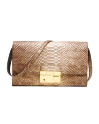 Michael Kors | Brown Gia Snakeembossed Clutch | Lyst