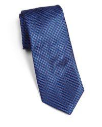 Saks Fifth Avenue   Blue Textured Silk Tie for Men   Lyst