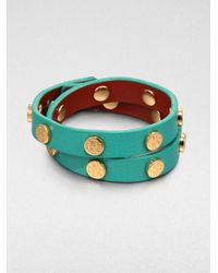 Tory Burch - Green Double Logostudded Leather Wrap Bracelet - Lyst