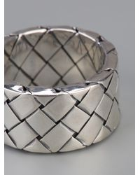Bottega Veneta - Metallic Intrecciato Ring - Lyst