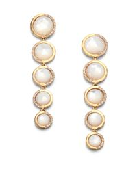 Mija - Natural Mother-Of-Pearl & White Sapphire Linear Drop Earrings - Lyst