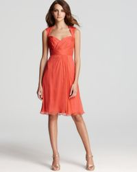 Amsale - Orange Short Dress Cap Sleeve Sweetheart - Lyst